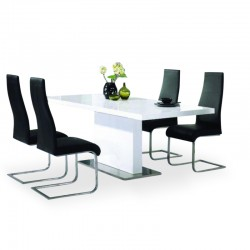 Alonso four person dining set with white high gloss dining table