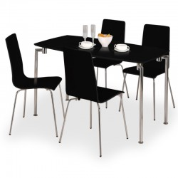 Mika Black High Gloss Four Person Dining Set