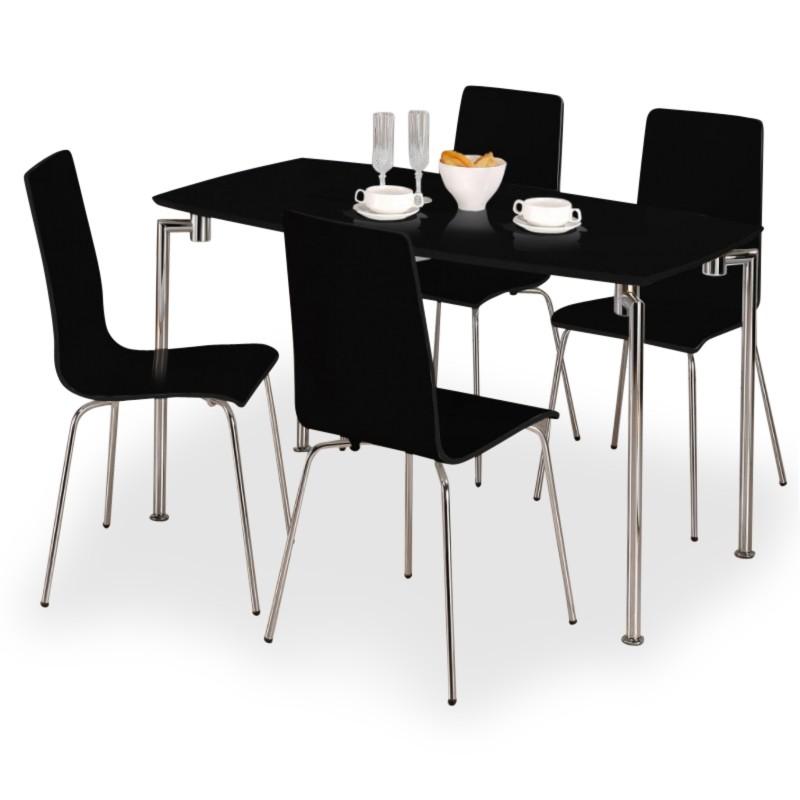 de7c2a5b1401 Mika Black High Gloss Four Person Dining Set