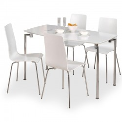 Mike white high gloss four person dining set