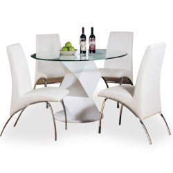 Petrese designer four person dining set with white dining chairs