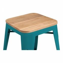 Teal natural wood seat