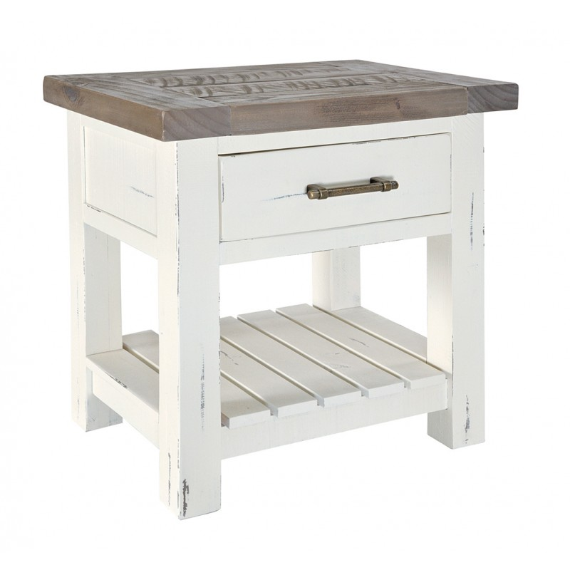 Driftwood & Distressed White One Drawer Bedside Table | Kingston
