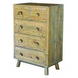An image of Fullbrook Reclaimed Wood 5 Drawer Chest of Drawers