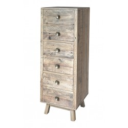 An image of Fullbrook Reclaimed Wood Narrow 6 Drawer Chest of Drawers