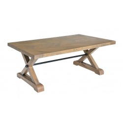 reclaimed pine parquet coffee table