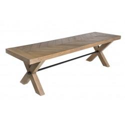 160cm parquet reclaimed pine bench
