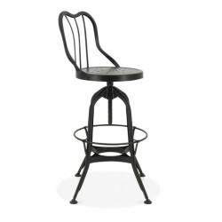 Toledo style bar stool in gunmetal with metal backrest