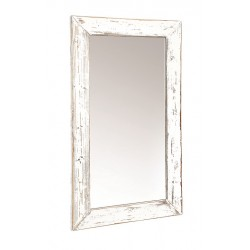 distressed white hanging wall mirror
