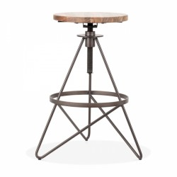 industrial style metal swivel bar stool in rustic finish