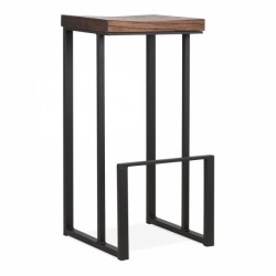 Contemporary metal bar stool with sling leg frame and dark brown wooden seat