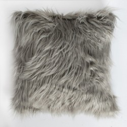 Mongolian faux fur cushion in grey.