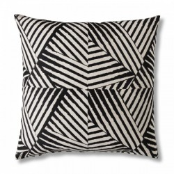 Geometric floor cushion in black and white, front view