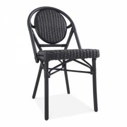 An image of Pavilion Rattan Garden Dining Chair Black