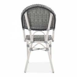 grey and white rattan chair for gardens and patios back