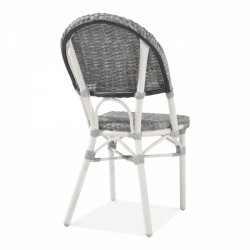 grey and white rattan chair for gardens and patios back 2
