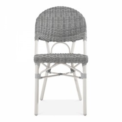 grey and white rattan chair for gardens and patios front