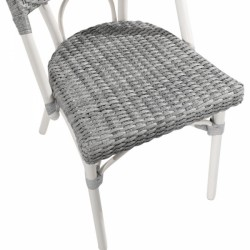 grey and white rattan chair for gardens and patios seat