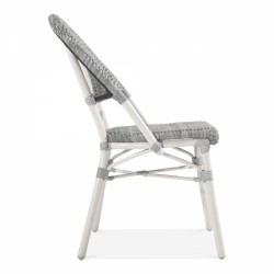grey and white rattan chair for gardens and patios side