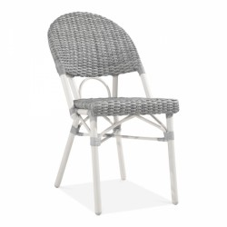 grey and white rattan chair for gardens and patios