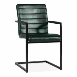 Leather Cantilever Dining Chair In Green