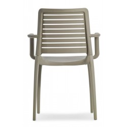 capri armchair in taupe rear view