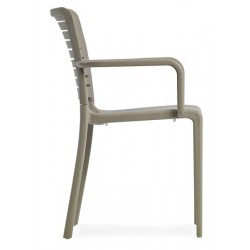 capri armchair in taupe side view