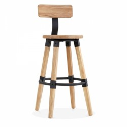 Wooden Round Bar Stool with Backrest Front View