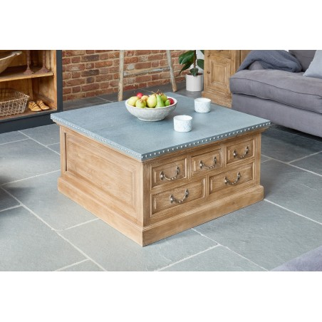 Arezzo acacia coffee table with storage trunk 1
