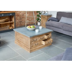 Arezzo acacia coffee table with storage trunk 3