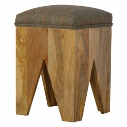 Cappa Solid Wood Cut Out Stool With Seatpad Angle