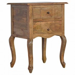 Cappa 2 Drawer Bedside with French Design Legs Left Angle