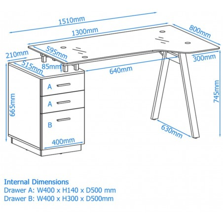 Logan Glass Desk with Pedestal - Dimensions