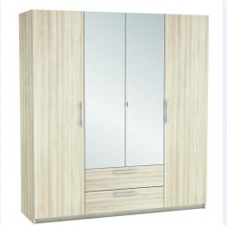 light oak 4 door mirrored wardrobe