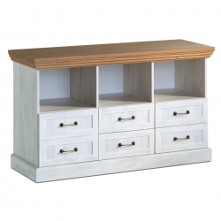 six drawer white ash and oak tv media unit