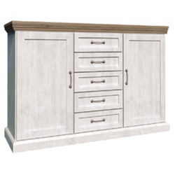 solid oak and white ash small 5 drawer sideboard
