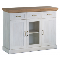 white ash and solid oak 3 drawer sideboard