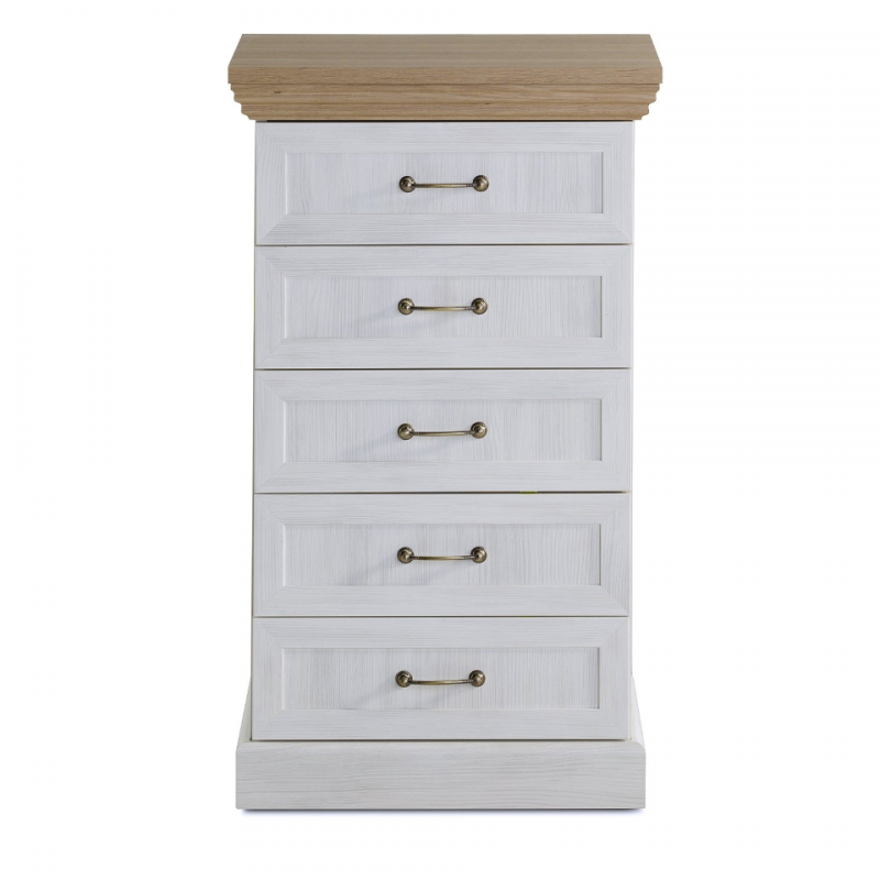 Solid Oak And White Ash Tall Chest Of Drawers