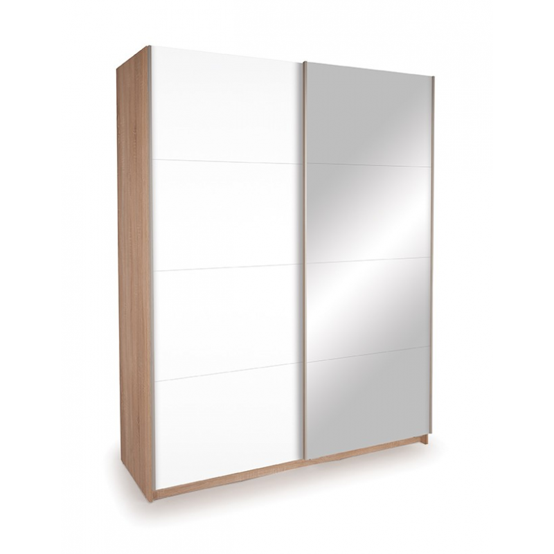 Gloss White Mirrored Sliding Door Wardrobe