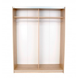Oak Wardrobe with Mirrored and High Gloss Sliding Doors ...