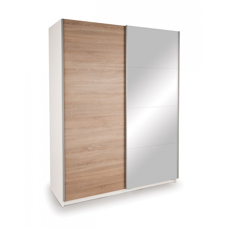 White Wardrobe With Oak And Mirrored Sliding Door Panels