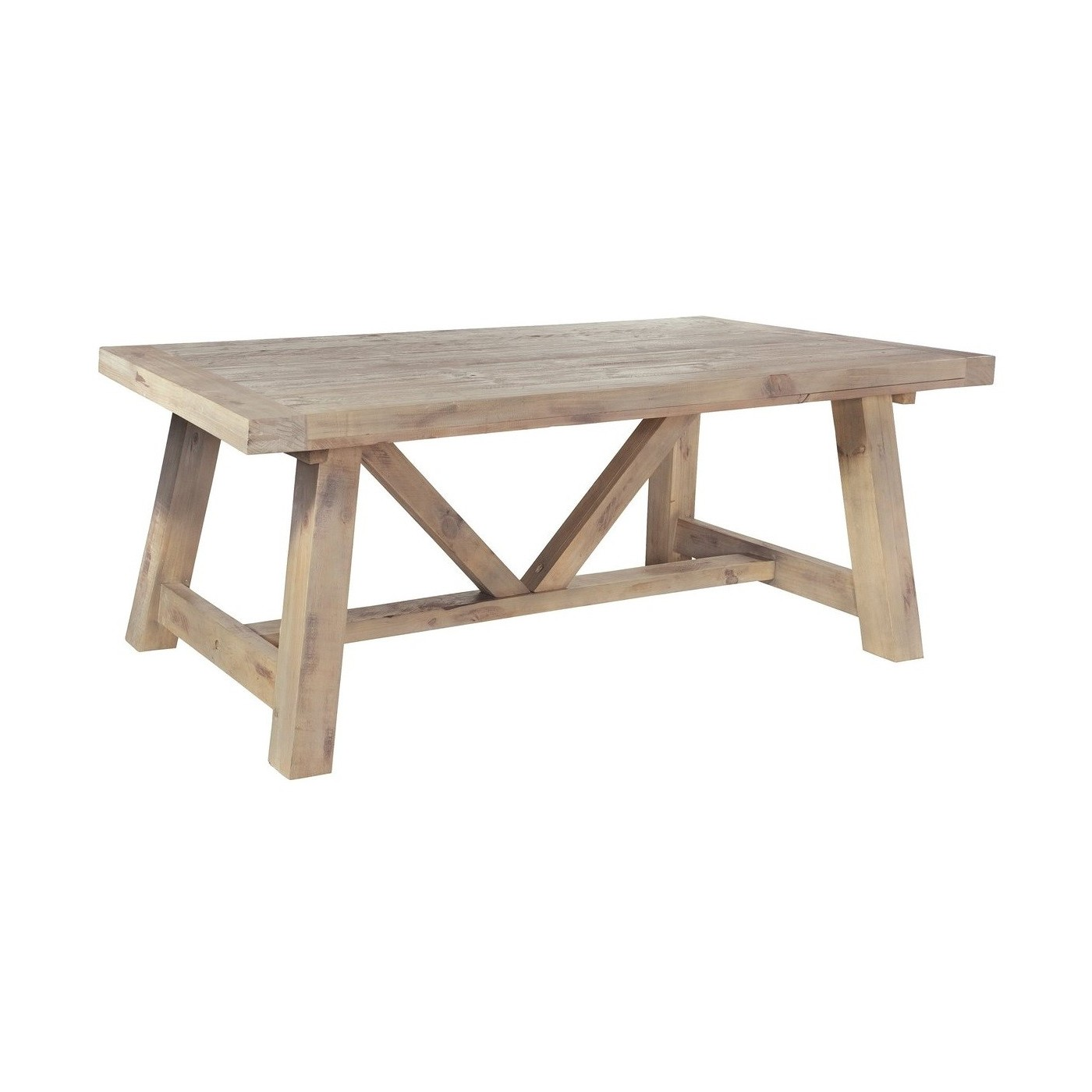 Reclaimed driftwood fixed top dining table millbrook