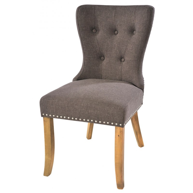 button backed grey fabric dining chair