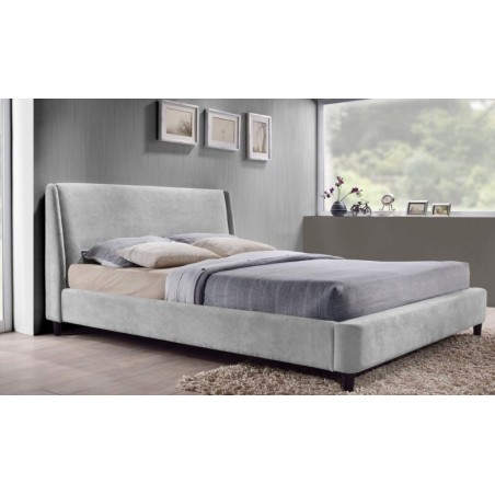 Double Bed Frame, Fabric Upholstered, Grey