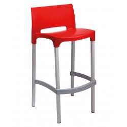 Plastic Bar Stool in Red