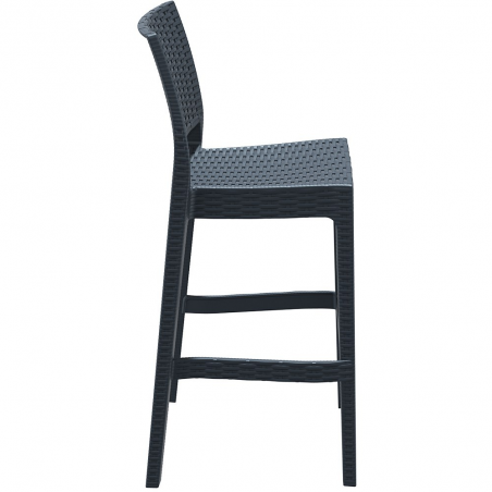 Black weave rattan imitate bar stool 2