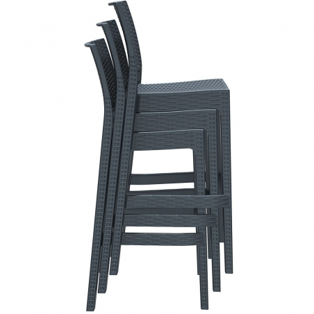 Black weave rattan imitate bar stool stacked