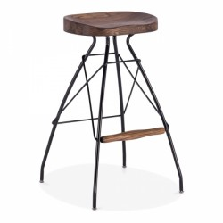 dark wood black metal bar stool