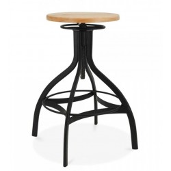 metal swivel bar stool with an Ash wood seat and Black frame