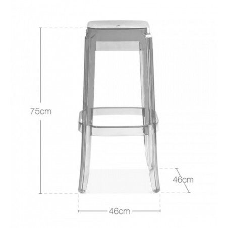 clear polycarbonate ghost chair dimensions